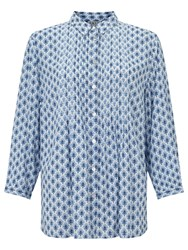 East Booti Print Pintuck Shirt White Blue