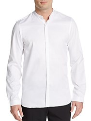 The Kooples Leather Band Collar Cotton Shirt White
