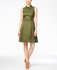 Rachel Roy Mixed Media Shirtdress Army Green