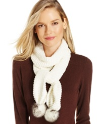 Charter Club Chenille Pom Pom Scarf Only At Macy's Ivory