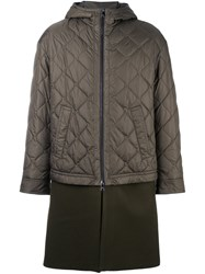 Neil Barrett Padded Contrast Military Coat Green