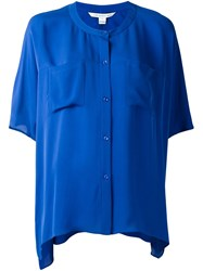 Diane Von Furstenberg Button Up Blouse Blue