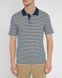 Armor Lux Navy And Ecru Cotton Linen Sailor Stripe Polo Shirt