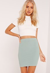 Missguided Ribbed Mini Skirt Blue