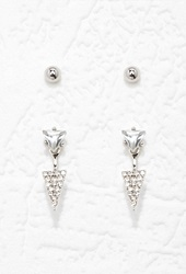 Forever 21 Rhinestoned Triangle Ear Jacket Set Silver Clear