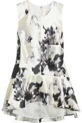 Lela Rose Paneled Silk Peplum Top White