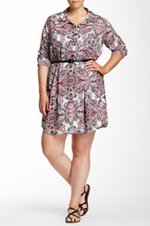 Single Dress Riley Printed And Faux Leather Belted Shirt Dress Plus Size Multi