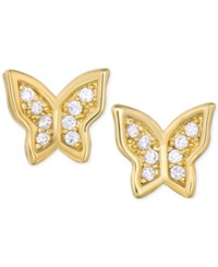 Victoria Townsend Lily Nily Cubic Zirconia Butterfly Stud Earrings In 18K Gold Over Sterling Silver