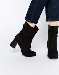 New Look Block Heeled Slouch Ankle Boot Black