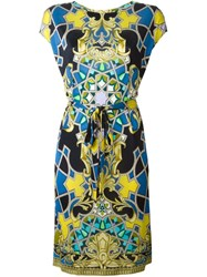 Versace Collection Baroque Print Belted Dress Yellow And Orange