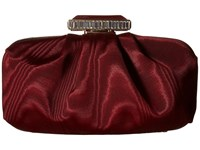 Oscar De La Renta Goa Moire Faille Bordeaux Moire Faille Clutch Handbags Red