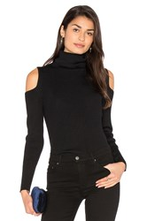 525 America Cut Out Ribbed Turtleneck Sweater Black