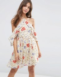 Asos Cold Shoulder Mini Dress With Ruffle Sleeve In Vintage Floral Print Multi