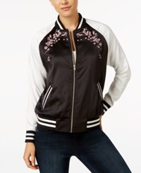 Say What Juniors' Floral Bomber Jacket Black Combo