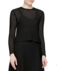 Theory Krezia Netted Long Sleeve Top Black