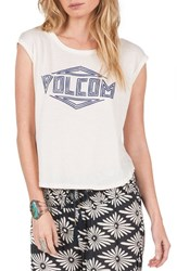 Volcom Women's Nite Cruise Graphic Muscle Tee White Vintage