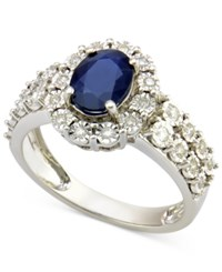 Macy's Sapphire 1 1 10 Ct. T.W. And Diamond 1 4 Ct. T.W. Ring In 14K White Gold Blue