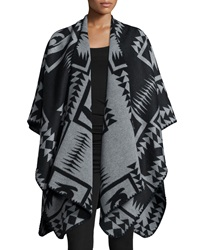 Velvet Draped Front Poncho Black Gray