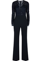 Michelle Mason Lace And Stretch Crepe Jumpsuit Navy