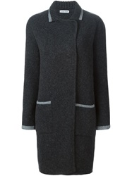 Tomas Maier Double Breasted Knit Coat Grey
