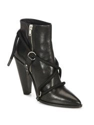 Iro Wikson Leather Lace Up Point Toe Booties Black