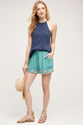 Anthropologie Embroidered Isle Shorts Turquoise