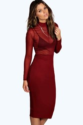 Boohoo High Neck Mesh Midi Bodycon Dress Berry