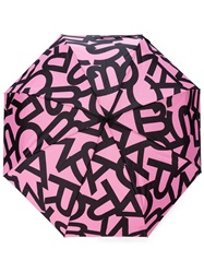 Marc By Marc Jacobs Letter Print Umbrella Pink And Purple