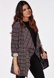 Missguided Plus Size Checked Waterfall Jacket Red