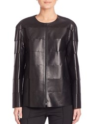 Lafayette 148 New York Tissue Weight Leather Murphy Jacket Black