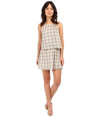 Michael Stars Plaid Mesh Layered Halter Dress Chalk Oxide Women's Dress Gray