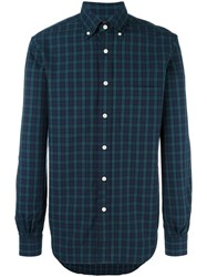 Massimo Piombo Mp Button Down Collar Black Watch Pattern Shirt Blue