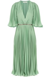 Halston Heritage Pleated Dress With Sheer Insert Belt Green