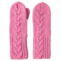 Lowie Virgin Wool Cable Knit Mittens In Neon Pink Marl