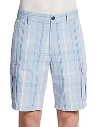 Saks Fifth Avenue Blue Yarn Dyed Plaid Cargo Shorts Light Blue