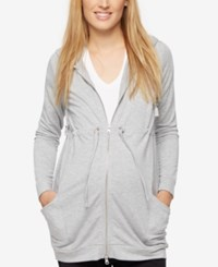 A Pea In The Pod Maternity Zip Front Hoodie Heather Grey
