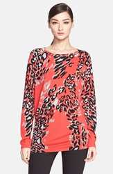 Escada Leopard Print Wool Blend Tunic Fantasy