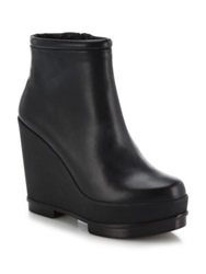 Robert Clergerie Sarla Leather Wedge Booties Black