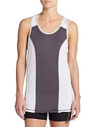 Reebok Color Blocked Ruched Singlet Top Charcoal White