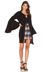 Milly Flare Sleeve Tie Coat Black