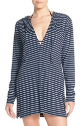 Tommy Bahama Women's Stripe Hoodie Cover Up Mare Pool