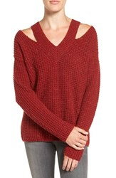 Rebecca Minkoff Women's 'Draco' Waffle Knit Shoulder Cutout Sweater Crimson