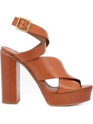 Chloe Strappy Platform Sandals Brown