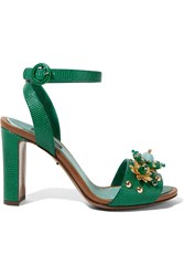 Dolce And Gabbana Embellished Lizard Effect Leather Sandals Emerald