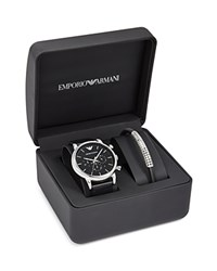 Emporio Armani Leather Strap Watch 46Mm And Bracelet Set