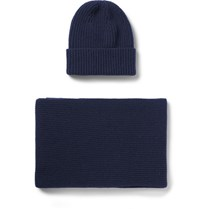 William Lockie Ribbed Cashmere Hat And Scarf Set Navy