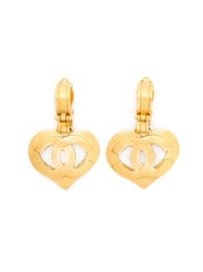 Chanel Vintage Heart Logo Clip On Earrings Yellow And Orange