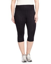Balance Plus Embossed Capri Leggings Star Angle Black