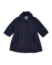Florence Eiseman Wool Blend Button Front Peacoat Navy