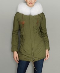 The Fur Vault Rabbit Lined Hooded Parka Army White